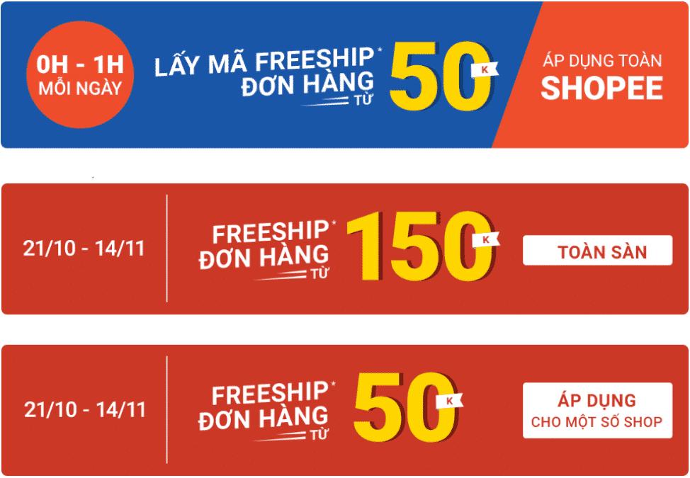 Mã giảm giá freeship của shopee