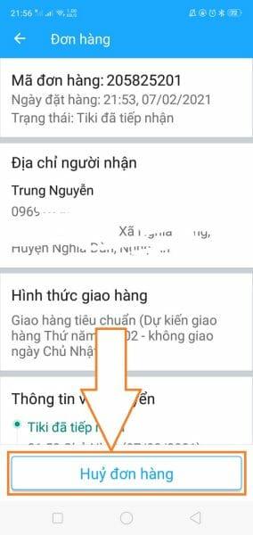 Cách hủy đơn hàng Tiki qua App