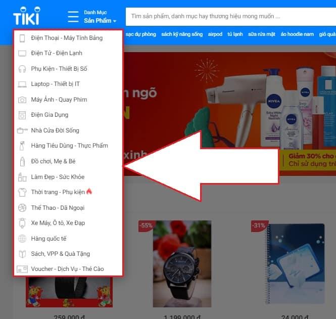Danh mục sản phẩm trên Tiki