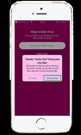 Cho phép thông báo khi đăng ký MoMo