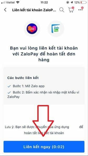 Liên kết Zalo Pay với Lazada