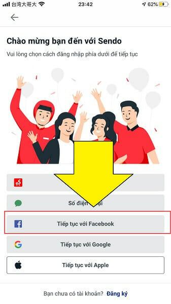 đăng nhập Sendo bằng FB