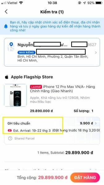 Kiểm tra thông tin sản phẩm khi mua hàng trả góp Lazada trên App