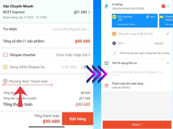 cách thanh toán shopee bằng airpay