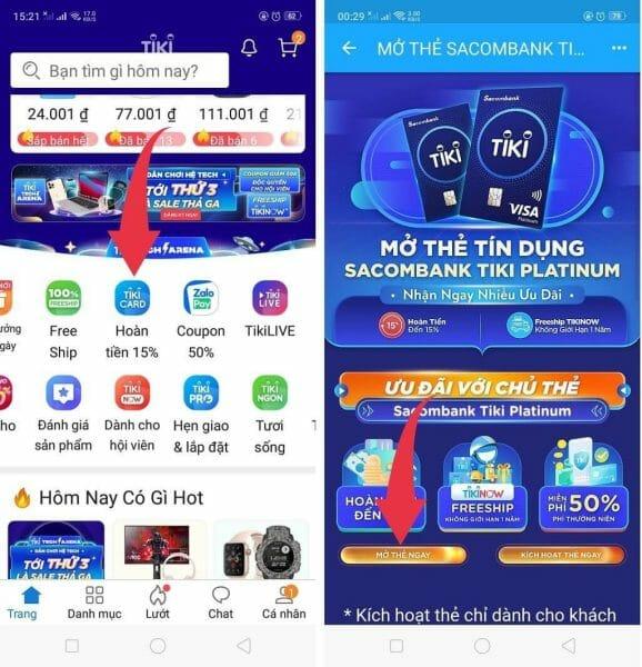 Mở thẻ TikiCard trên App Tiki