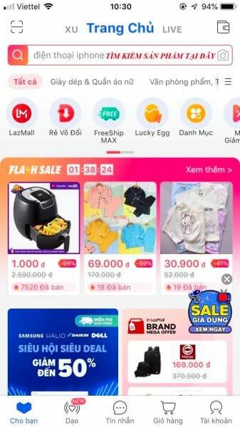 Tìm kiếm sản phẩm khi mua hàng trả góp Lazada trên App