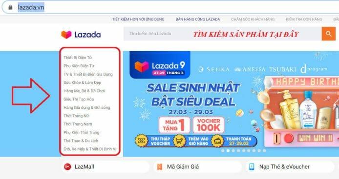 Tìm kiếm sản phẩm khi mua hàng trả góp Lazada