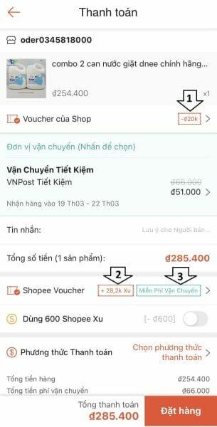 cách dùng mã giảm giá shopee