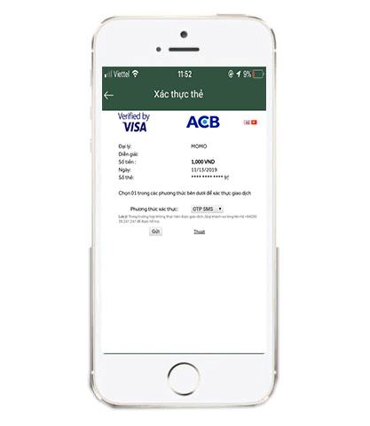 Nhập OTP xác nhận khi liên kết thẻ