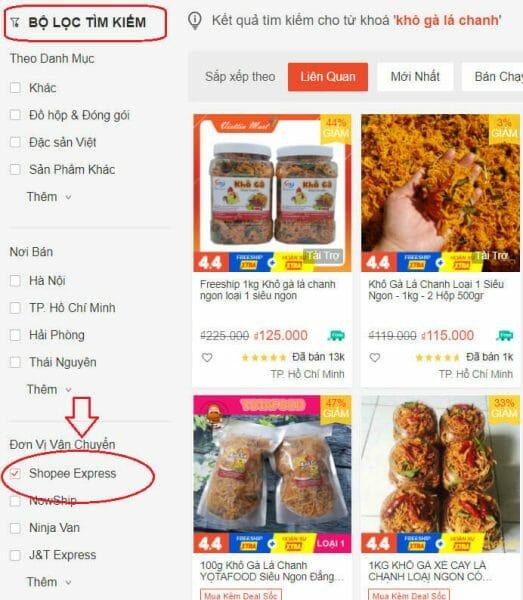 cách lọc sản phẩm hỗ trợ shopee express