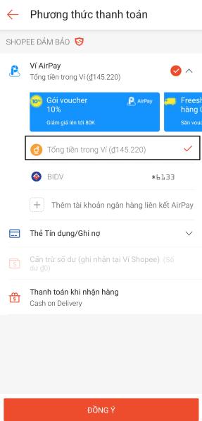Phương thức thanh toán Shopee