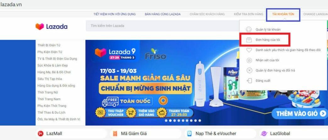 Chọn đơn hàng để kiểm tra giao hàng Lex vn