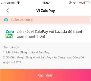 Xác nhận liên kết ví Zalo Pay với Lazada