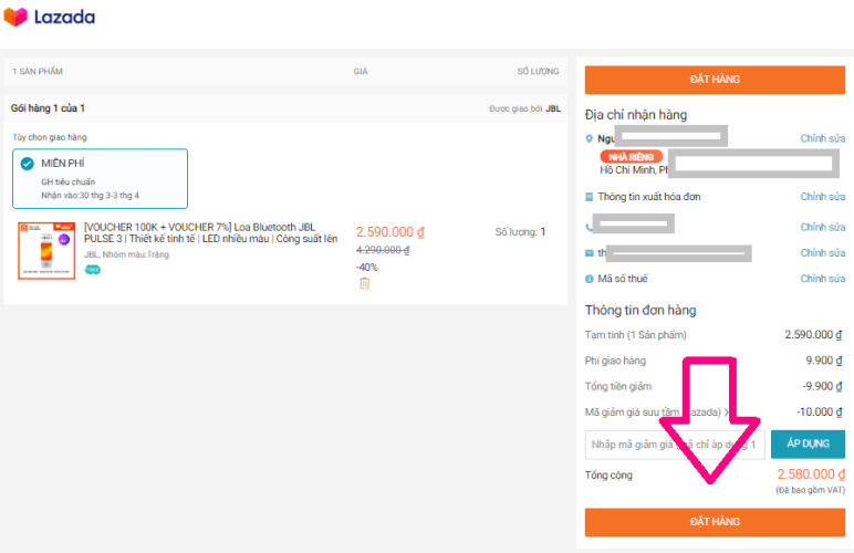 Kiểm tra thông tin và bấm đặt hàng LazGlobal