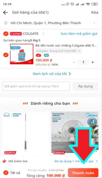 Bấm vào thanh toán sản phẩm