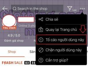 cách tố cáo shop trên shopee
