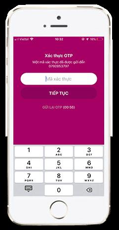 Nhập mã xác thực khi đăng ký tài khoản MoMo