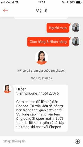 Liên hệ tổng đài Shopee bằng cách chat với nhân viên chăm sóc khách hàng Shopee