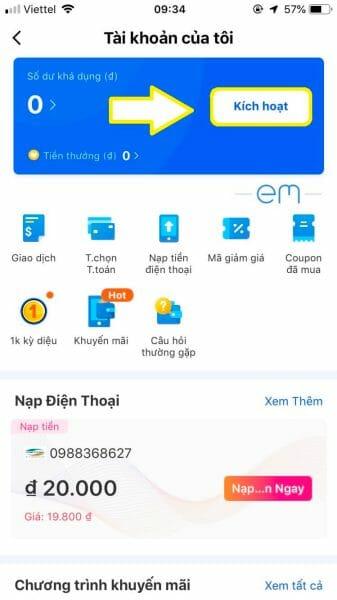 Kích hoạt ví eM trên app Lazada