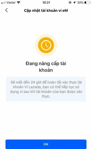Xác nhận tài khoản ví eM trên Lazada hoàn tất