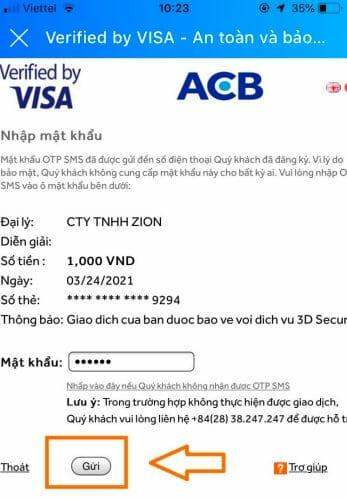 Nhập mật khẩu xác thực liên kết ngân hàng với ví Zalo Pay