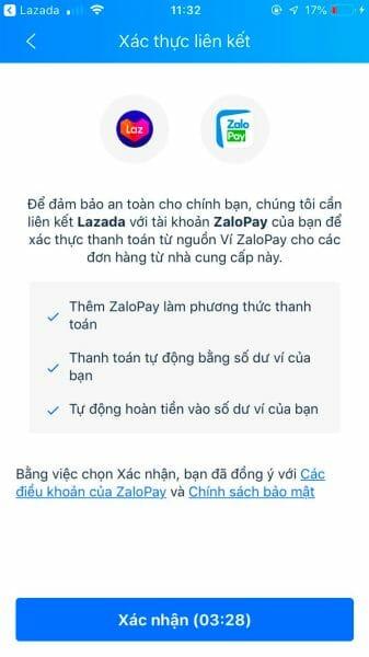Xác thực liên kết ZaloPay với tài khoản Lazada