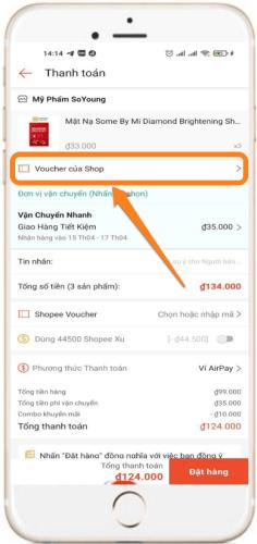 Cách sử dụng mã giảm giá của shop trên Shopee