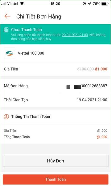 Hình ảnh mã thẻ 1K Shopee sau khi săn thành công
