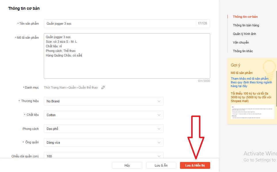 Nhập thông tin chi tiết sản phẩm