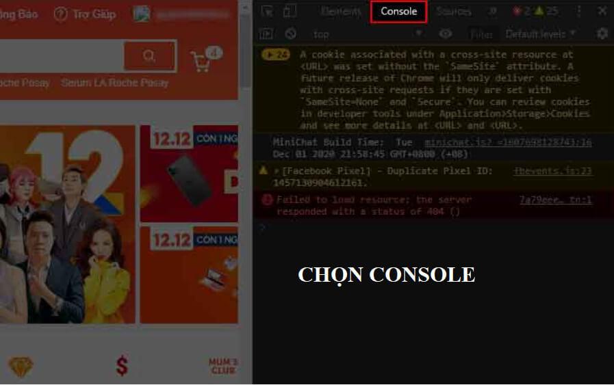 Chọn Console để tính tổng tiền đã mua trên Shopee