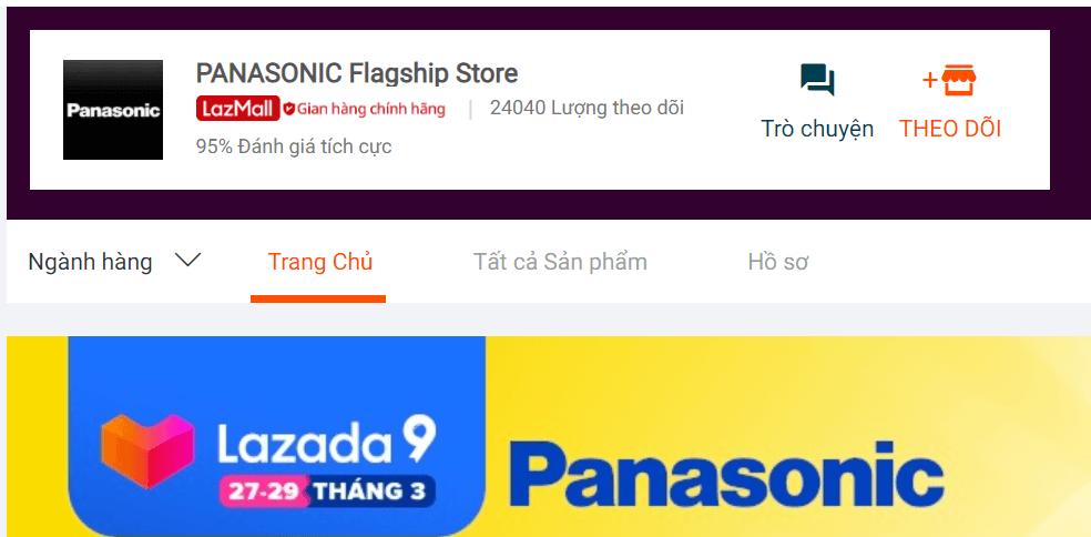 Gian hàng chính hãng Panasonic trên Lazada