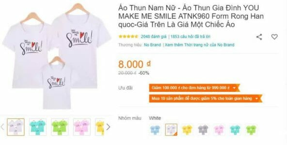 So sánh giá khi mua quần áo trên Lazada