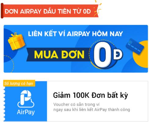 Ưu đãi cho đơn Airpay đầu tiên từ 0Đ