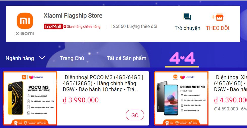 Gian hàng chính hãng Xiaomi trên Lazada