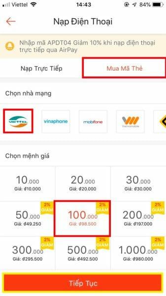Chọn mã thẻ điện thoại và nhà mạng đang muốn săn 1k trên Shopee