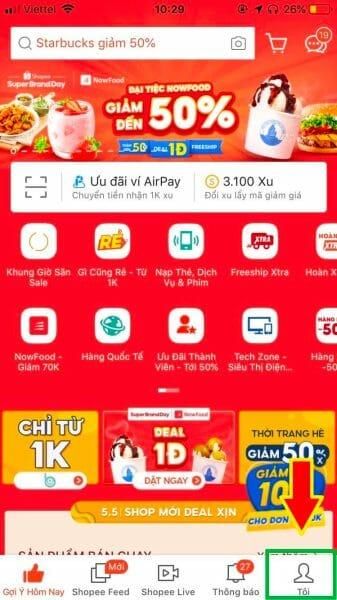Mở mục tôi tại trang chủ App Shopee