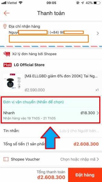 Chọn hình thức giao hàng mới Shopee