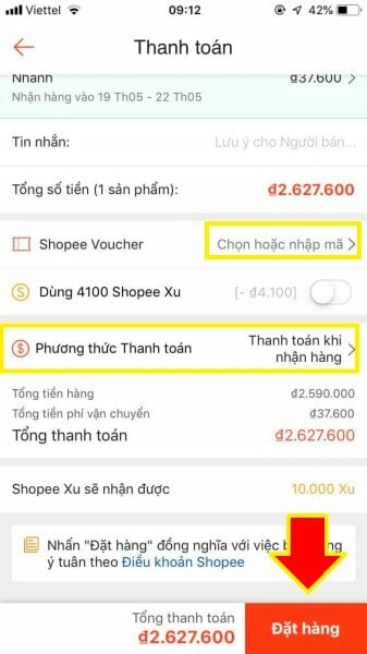 Chọn phương thức thanh toán Shopee