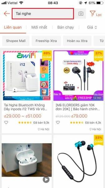 Tìm kiếm sản phẩm trên Shopee