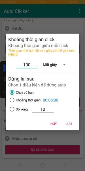 Cài đặt khoảng thời gian click