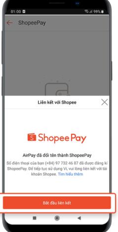 Chọn bắt đầu liên kết với Shopee