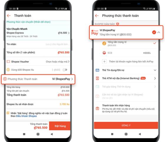 Chọn hình thức thanh toán ví ShopeePay
