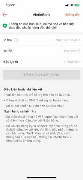 Điền thông tin thẻ ngân hàng để liên kết với ví ShopeePay