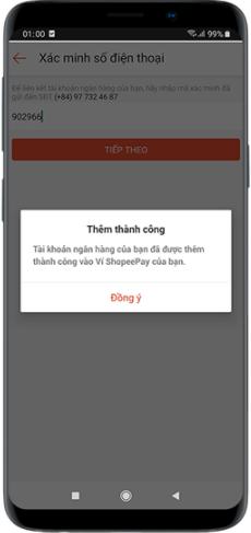 Nhập mã OTP để xác nhận liên kết với ngân hàng với ví ShopeePay